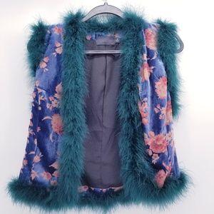 Antherpologie Line & Dot Velvet Floral Vest